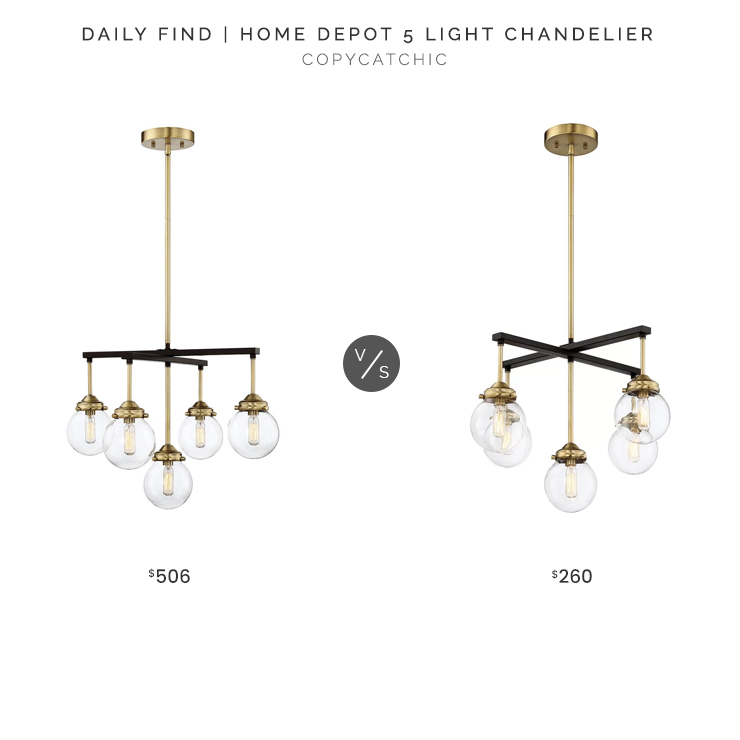 Home Depot 5 Light Chandelier $506 vs. Wayfair Suffield 5 Light Chandelier $260, two tone chandelier look for less, copycatchic luxe living for less, budget home decor and design, daily finds, home trends, sales, budget travel and room redos