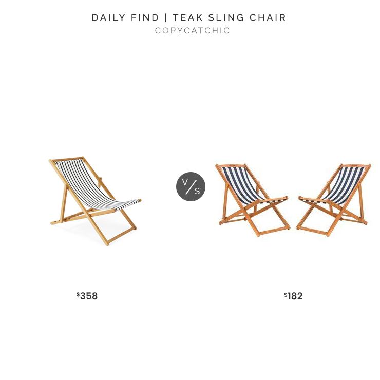 Serena & Lily Teak Sling Chair $358 vs. Overstock Safavieh Loren Natural/Navy Foldable Sling Chair (Set of 2) $182, striped sling chair look for less, copycatchic luxe living for less, budget home decor and design, daily finds, home trends, sales, budget travel and room redos