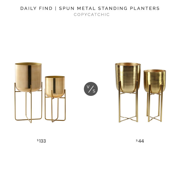 West Elm Spun Metal Standing Planters (Medium & Large) $133 vs. Walmart Metallic Gold Metal Planters in Gold Stands (Set of 2)$44, gold planter look for less, copycatchic luxe living for less, budget home decor and design, daily finds, home trends, sales, budget travel and room redos