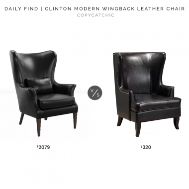 Rejuvenation Clinton Modern Wingback Leather Chair $2079 vs. Joss & Main Roundtree Wingback Chair $320, leather wingback chair look for less, copycatchic luxe living for less, budget home decor and design, daily finds, home trends, sales, budget travel and room redos