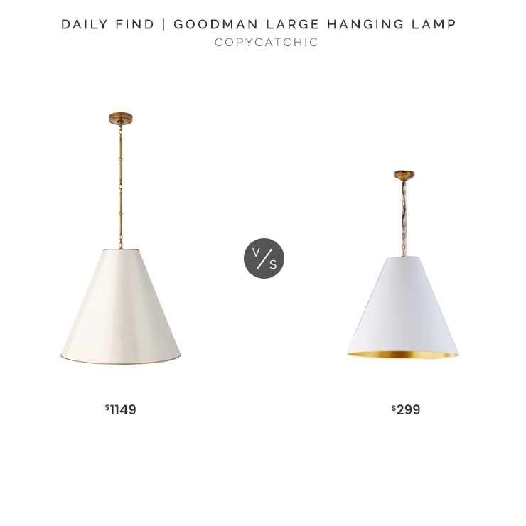 Circa Lighting Goodman Large Hanging Lamp $1149 vs. Shades of Light Oversized Cone Paper Shade Pendant $299, white cone pendant look for less, copycatchic luxe living for less, budget home decor and design, daily finds, home trends, sales, budget travel and room redos