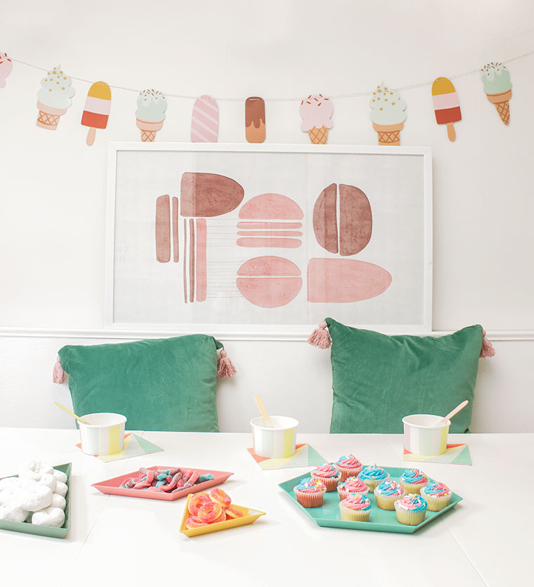 A bright, multi-color, neon, modern end of the school year party for kids with Drew Barrymore's new Flower line at Walmart. Simple, clean and easy kids party decor and entertaining set up for a modern ice cream party. copycatchic luxe living for less budget home decor and design daily finds and room redos