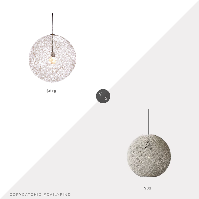 "DWR Random Light, 20""W $629 vs. Wayfair Nocera 1-Light Globe Pendant, 15""W $82, white globe lighting look for less, copycatchic luxe living for less, budget home decor and design, daily finds, home trends, sales, budget travel and room redos"