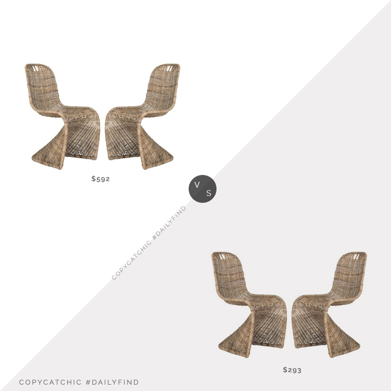 Kohl's Safavieh Cilombo Wicker Dining Chairs (Set of 2) $592 vs. Overstock Safavieh Rural Woven Dining Chairs (Set of 2) $293, wicker dining chair look for less, copycatchic luxe living for less, budget home decor and design, daily finds, home trends, sales, budget travel and room redos