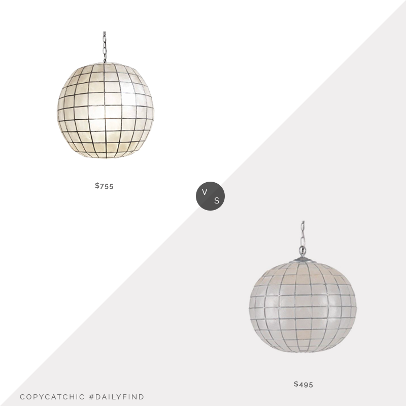 Chairish Capiz Shell Globe Lantern $755 vs. Jet Kouboo LLC Pendant Light $495, capiz globe chandelier look for less, copycatchic luxe living for less, budget home decor and design, daily finds, home trends, sales, budget travel and room redos
