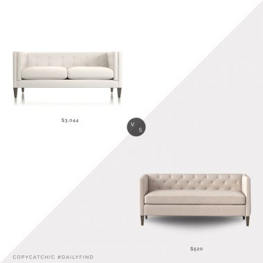 Crate & Barrel Aidan Tufted Apartment Sofa, Newport Salt $3,044 vs. Target Holyoke Linen Sofa $520, tufted sofa look for less, copycatchic luxe living for less, budget home decor and design, daily finds, home trends, sales, budget travel and room redos
