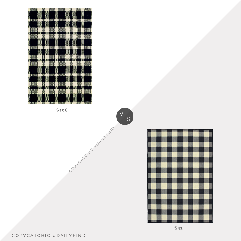 Dash & Albert Tattersall Woven Cotton Rug (2.5x8) $108 vs. Hayneedle Avalon Home Buffalo Check Area Rug $41, plaid rug look for less, copycatchic luxe living for less, budget home decor and design, daily finds, home trends, sales, budget travel and room redos