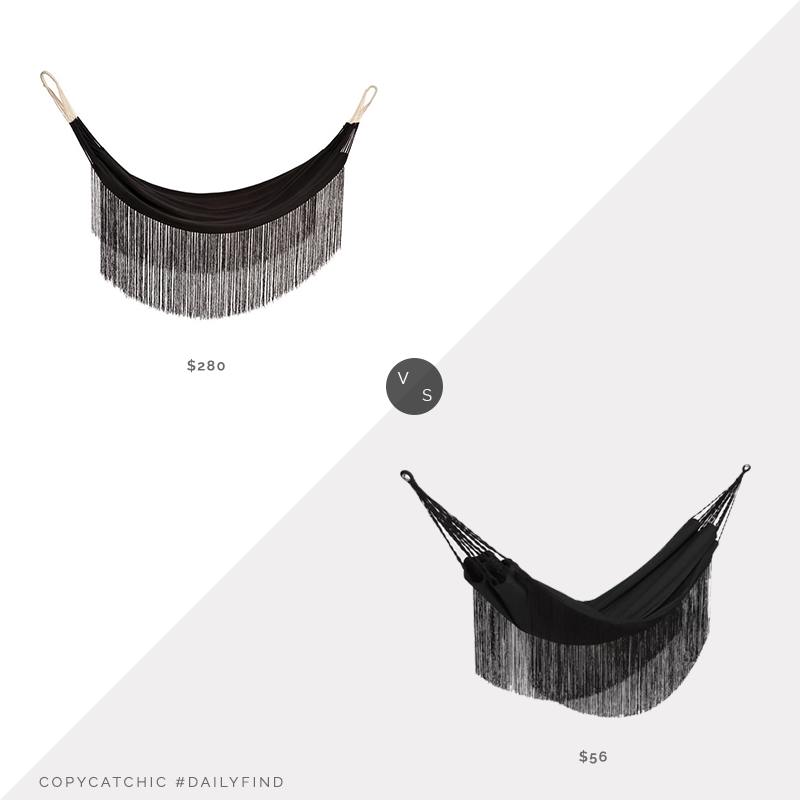 One Kings Lane Lupita Fringe Hammock $280 vs. Target Flat Weave Fringe Hammock $56, black fringe hammock look for less, copycatchic luxe living for less, budget home decor and design, daily finds, home trends, sales, budget travel and room redos