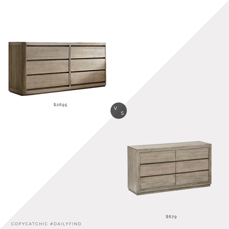 Restoration Hardware Martens 6-Drawer Dresser $2695 vs. Amazon Stone & Beam Bishop Modern Wood Dresser $679, aged oak dresser look for less, copycatchic luxe living for less, budget home decor and design, daily finds, home trends, sales, budget travel and room redos