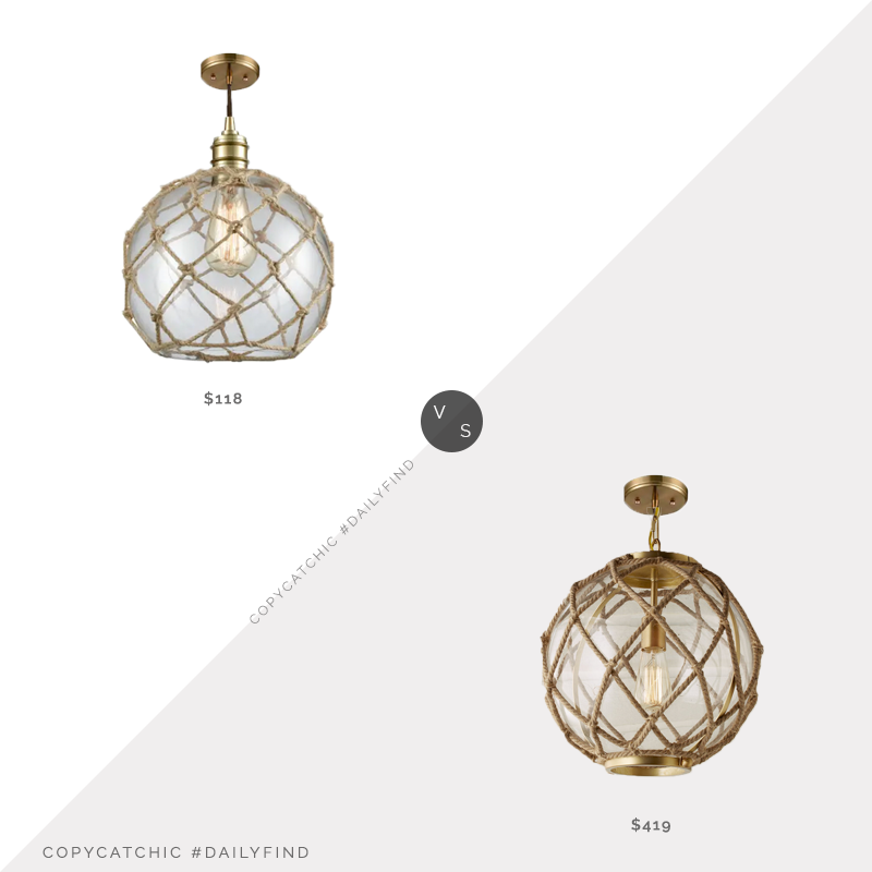 Shades of Light Jute Rope Globe Pendant $419 vs. Elk Lighting Dragnet Single Light Pendant $118, rope pendant light look for less, copycatchic luxe living for less, budget home decor and design, daily finds, home trends, sales, budget travel and room redos