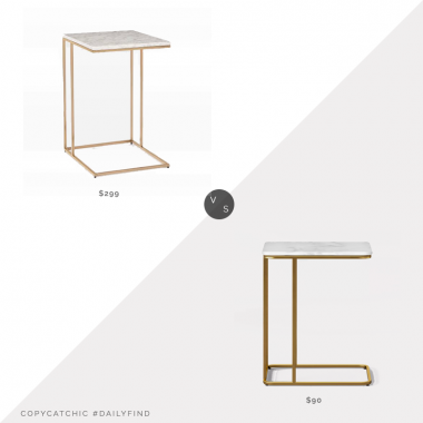 West Elm Streamline C-Side Table $299 vs. Target Project 62 Highfield C Table White Marble $90, brass c table look for less, copycatchic luxe living for less, budget home decor and design, daily finds, home trends, sales, budget travel and room redos