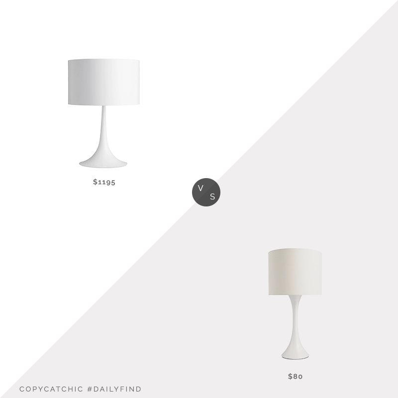 DWR Spun T1 Table Lamp $1,195 vs. CB2 Ada II White Table Lamp $80, spun table lamp look for less, copycatchic luxe living for less, budget home decor and design, daily finds, home trends, sales, budget travel and room redos