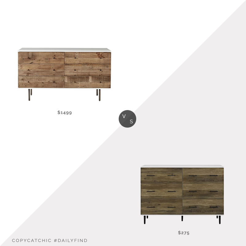 West Elm Reclaimed Wood & Lacquer 6-Drawer Dresser $1499 vs. Wayfair Marc Reclaimed 6-Drawer Dresser $275, reclaimed wood dresser look for less, copycatchic luxe living for less, budget home decor and design, daily finds, home trends, sales, budget travel and room redos