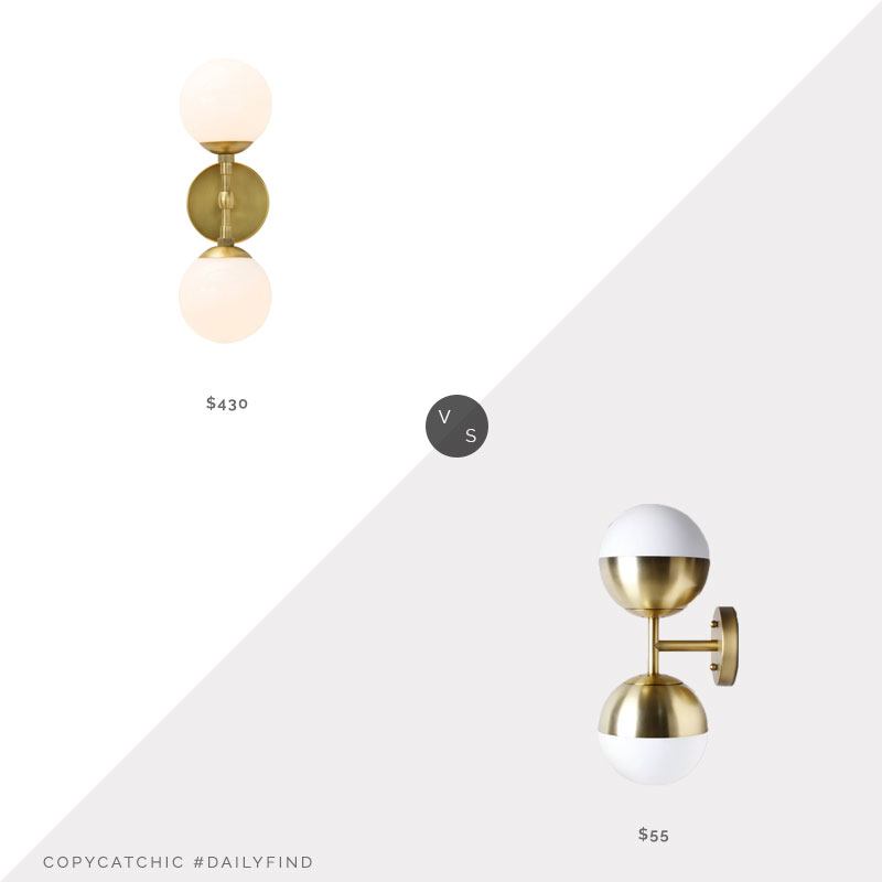 Arteriors Polaris Sconce $430 vs. Target Glass Globe Double Sconce$55, double globe sconce look for less, copycatchic luxe living for less, budget home decor and design, daily finds, home trends, sales, budget travel and room redos