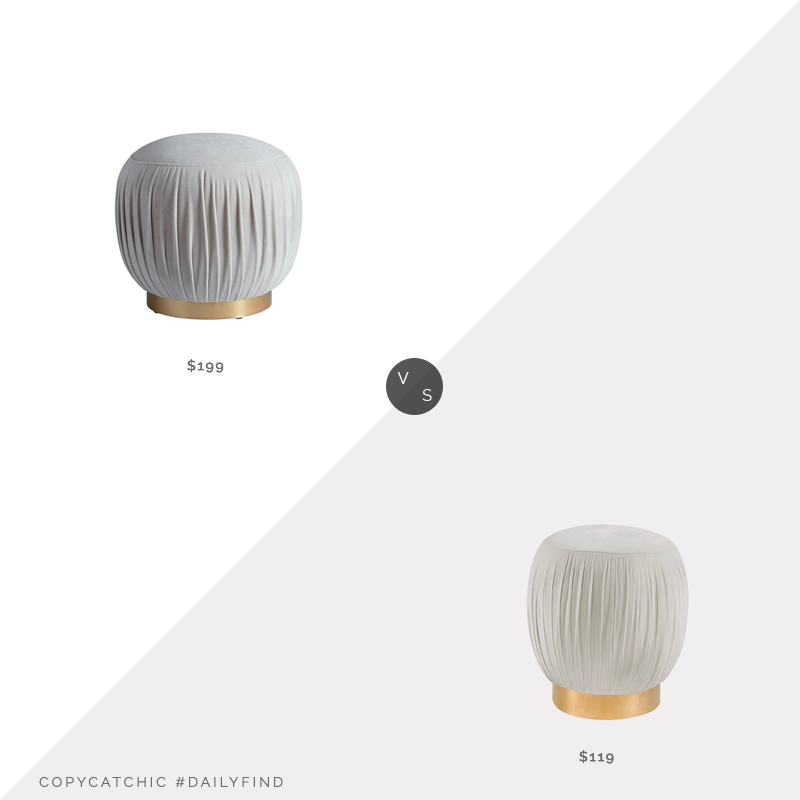 Daily Find: CB2 Pleated Grey Ottoman-Stool $199 vs. Amazon Tov Furniture Tulip Velvet Ottoman $119, gold base pouf look for less, copycatchic luxe living for less, budget home decor and design, daily finds, home trends, sales, budget travel and room redos