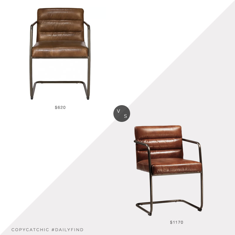 Chairish Retro Leather Arm Chair $1170 vs. Perigold Director's Arm Chair $620, channel tufted leather chair look for less, copycatchic luxe living for less, budget home decor and design, daily finds, home trends, sales, budget travel and room redos