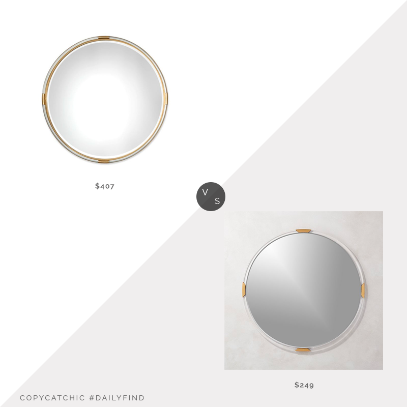 Houzz Uttermost Mackai Round Gold Mirror $407 vs. CB2 Demi Round Acrylic Mirror $249, acrylic mirror look for less, copycatchic luxe living for less, budget home decor and design, daily finds, home trends, sales, budget travel and room redos