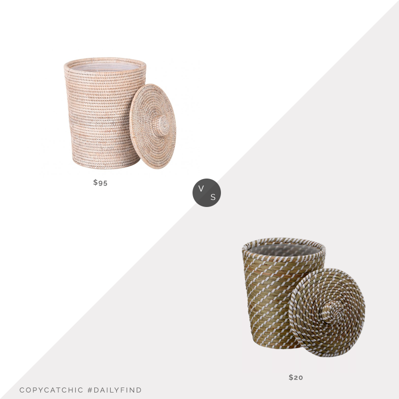 Kouboo La Jolla Rattan Wastebasket with Plastic Insert $95 vs. Target Opalhouse Solid Bathroom Wastebasket $20, woven wastebasket look for less, copycatchic luxe living for less, budget home decor and design, daily finds, home trends, sales, budget travel and room redos
