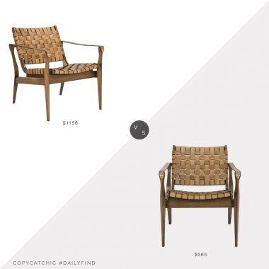 Paynes Gray Pinehurst Arm Chair$1156 vs. Amazon Dilan Leather Brown Accent Chair $565, leather strap chair look for less, copycatchic luxe living for less, budget home decor and design, daily finds, home trends, sales, budget travel and room redos
