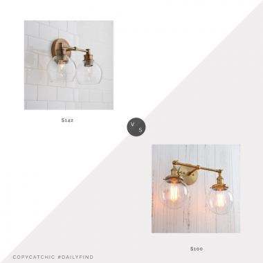 Shades of Light Volta Glass Vanity Light $142 vs. Amazon Permo Double Sconce $100, brass double sconce look for less, copycatchic luxe living for less, budget home decor and design, daily finds, home trends, sales, budget travel and room redos