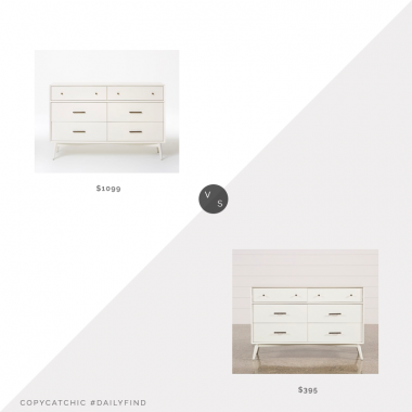 West Elm Mid-Century 6-Drawer Dresser $1099 vs. Living Spaces Alton White Dresser $395, mid century dresser look for less, copycatchic luxe living for less, budget home decor and design, daily finds, home trends, sales, budget travel and room redos