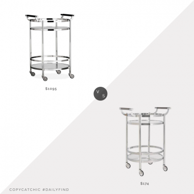 Williams Sonoma Truman Round Bar Cart $1095 vs. Home Depot Safavieh Sienna 2-Tier Chrome Bar Cart $174, silver bar cart look for less, copycatchic luxe living for less, budget home decor and design, daily finds, home trends, sales, budget travel and room redos