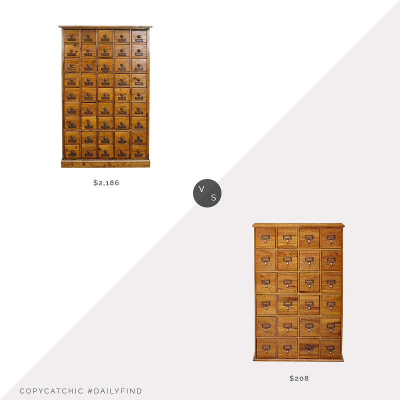 1st Dibs German Pine Apothecary Cabinet $2,186 vs. Amazon Leslie Dame Solid Oak Library Card Media Cabinet $208, apothecary cabinet look for less, copycatchic luxe living for less, budget home decor and design, daily finds, home trends, sales, budget travel and room redos