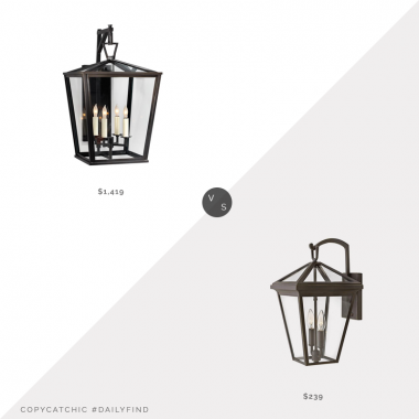 McGee & Co. Darlana Outdoor Bracket Lantern $1,419 vs. Lamps Plus Alford Place Oil Rubbed Bronze Outdoor Wall Light $239, outdoor lantern light look for less, copycatchic luxe living for less, budget home decor and design, daily finds, home trends, sales, budget travel and room redos