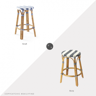 Serena & Lily Riviera Backless Counter Stool $238 vs. Overstock Butler Tobias Blue & White Rattan Counter Stool $123, rattan counter stool look for less, copycatchic luxe living for less, budget home decor and design, daily finds, home trends, sales, budget travel and room redos