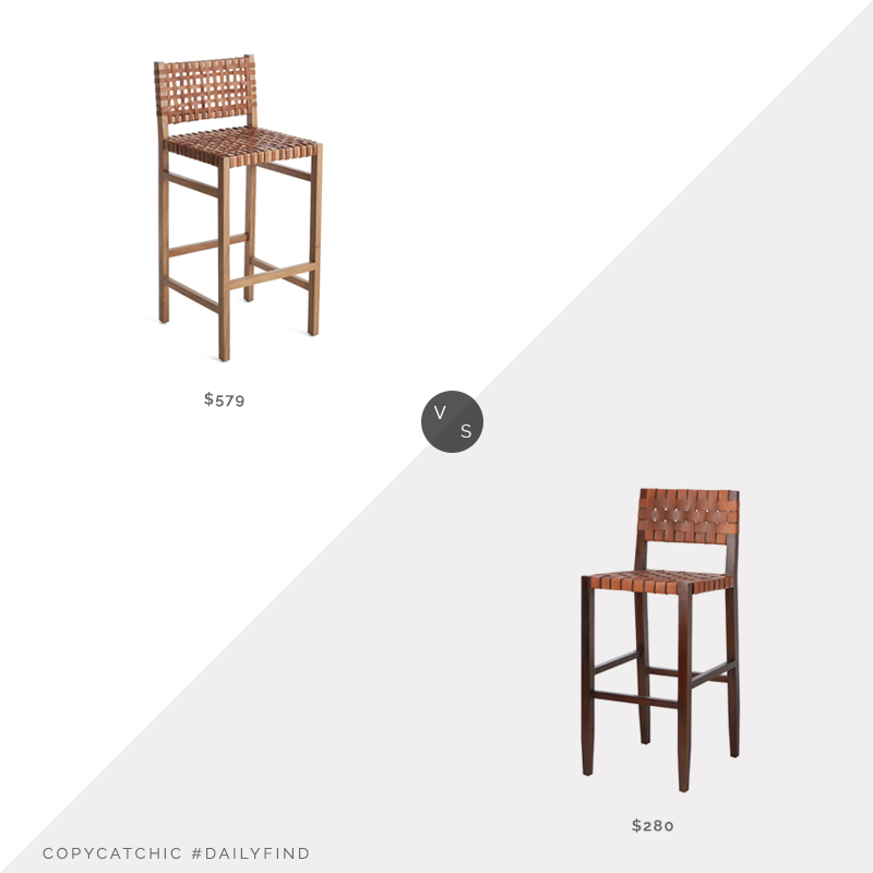 Wisteria Natura Stool $579 vs. Overstock Safavieh Paxton Woven Leather Barstool $280, leather strap counter stool look for less, copycatchic luxe living for less, budget home decor and design, daily finds, home trends, sales, budget travel and room redos