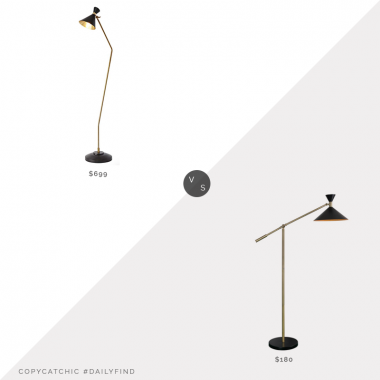 Lamps Plus Cone Bronze & Brass Floor Lamp $699 vs. Arne Black Floor Lamp with Metal Shade $180, black cone floor lamp look for less, copycatchic luxe living for less, budget home decor and design, daily finds, home trends, sales, budget travel and room redos