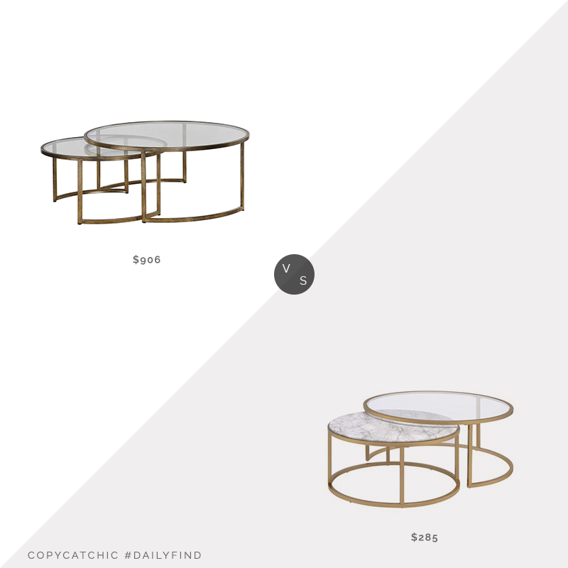 Lula and Georgia Ellen Nesting Table $906 vs. The Classy Home Shanish Gold Nesting Coffee Table $285, gold nesting coffee tables look for less, copycatchic luxe living for less, budget home decor and design, daily finds, home trends, sales, budget travel and room redos