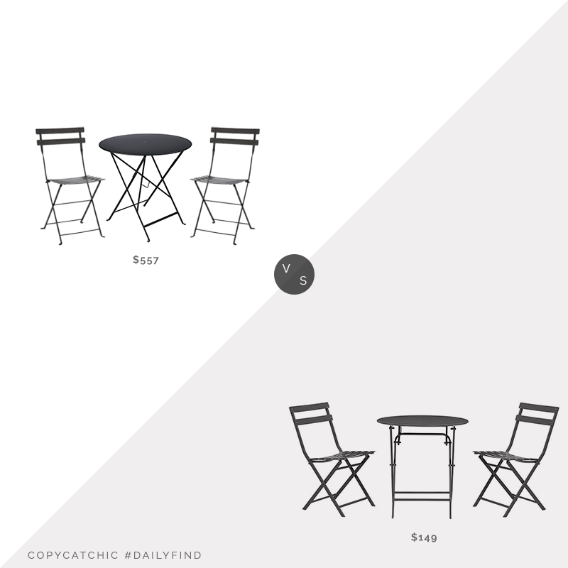 Pottery Barn Fermob Bistro Table $325 & Fermob Bistro Chairs (Set of 2) $232 vs. Home Depot Follie Bistro Set $149, black outdoor bistro set look for less, copycatchic luxe living for less, budget home decor and design, daily finds, home trends, sales, budget travel and room redos