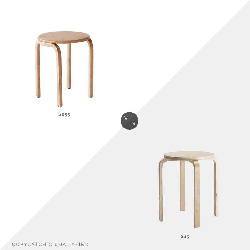 The Citizenry Kulon Side Table $255 vs. IKEA Frosta Stool $15, birch stool look for less, copycatchic luxe living for less, budget home decor and design, daily finds, home trends, sales, budget travel and room redos