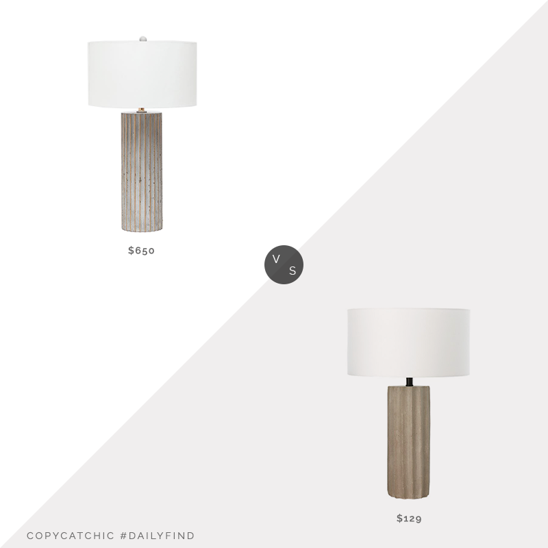 Burke Decor Vidar Table Lamp $650 vs. CB2 Scallop Concrete Table Lamp $129, concrete table lamp look for less, copycatchic luxe living for less, budget home decor and design, daily finds, home trends, sales, budget travel and room redos