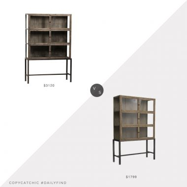 Chairish Oak & Iron Glass Door Cabinet $3120 vs. West Elm Curio Display Cabinet $1799, wood glass cabinet look for less, copycatchic luxe living for less, budget home decor and design, daily finds, home trends, sales, budget travel and room redos