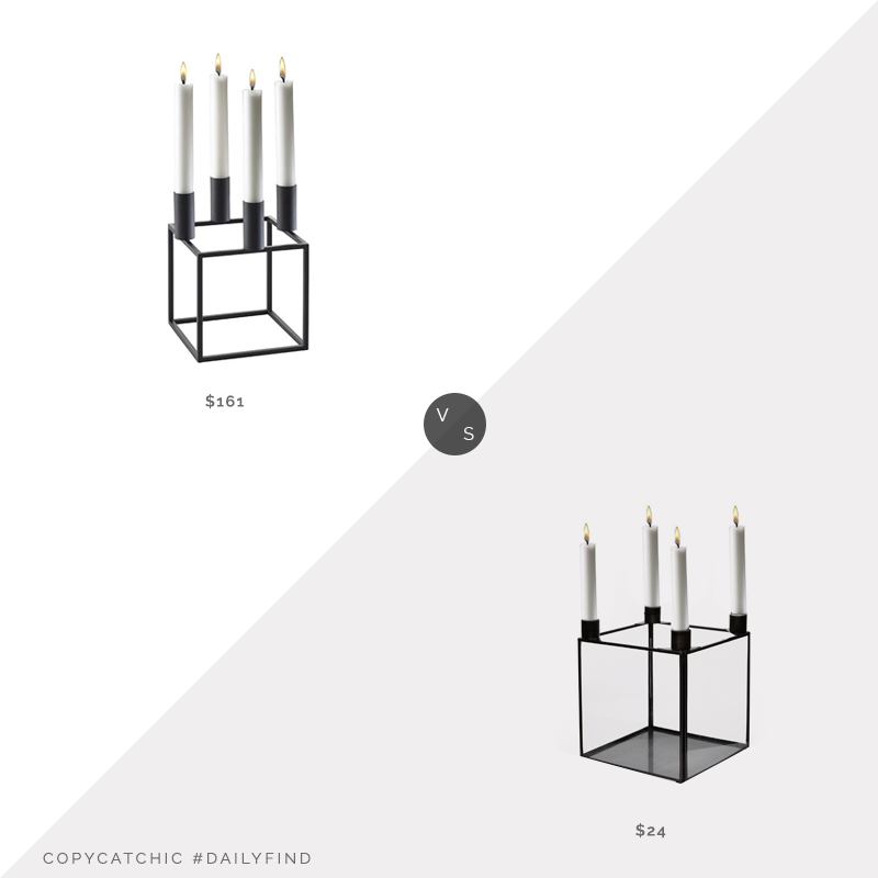 Horne Lassen Kubus 4 Candle Holder $161 vs. Walmart MoDRN Scandinavian Glass Square Candle Holder $24, modern candle holder look for less, copycatchic luxe living for less, budget home decor and design, daily finds, home trends, sales, budget travel and room redos