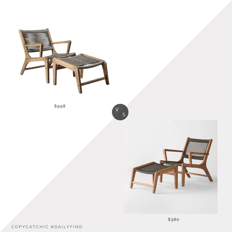 Kathy Kuo Regetta Rope Lounge Chair & Ottoman $998 vs. Target Ocean's Wood and Rope Chair and Ottoman $380, rope chair and ottoman look for less, copycatchic luxe living for less, budget home decor and design, daily finds, home trends, sales, budget travel and room redos