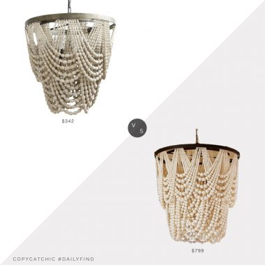 Pottery Barn Amelia Wood Bead Chandelier $799 vs. The Driftwood Haus Sally Chandelier $342, beaded chandelier look for less, copycatchic luxe living for less, budget home decor and design, daily finds, home trends, sales, budget travel and room redos