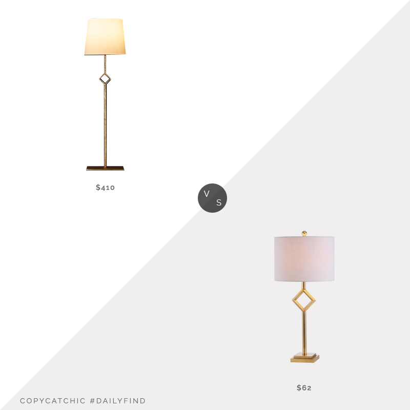 Restoration Hardware Albans Table Lamp $410 vs. Home Depot Jonathan Y Juno Gold Table Lamp $62, gold table lamp look for less, copycatchic luxe living for less, budget home decor and design, daily finds, home trends, sales, budget travel and room redos