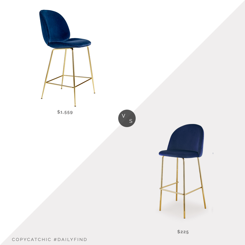 Rouse Home Beetle Fully Upholstered Counter Chair $1,559 vs. Meelano M61 Barstool (Set of 2) $225, navy velvet counter stool look for less, copycatchic luxe living for less, budget home decor and design, daily finds, home trends, sales, budget travel and room redos