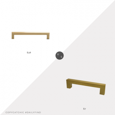 "Schoolhouse Edgecliff Drawer Pull (6"") $38 vs. Etsy Modern Gold Drawer Pulls (6.25"") $7, brass drawer pull look for less, copycatchic luxe living for less, budget home decor and design, daily finds, home trends, sales, budget travel and room redos"
