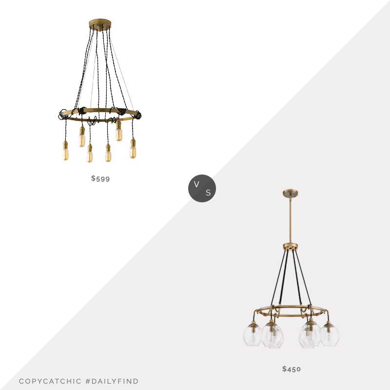 Schoolhouse Tangled Chandelier $599 vs. Overstock Quoizel Nostalgia Chandelier $450, cord chandelier look for less, copycatchic luxe living for less, budget home decor and design, daily finds, home trends, sales, budget travel and room redos