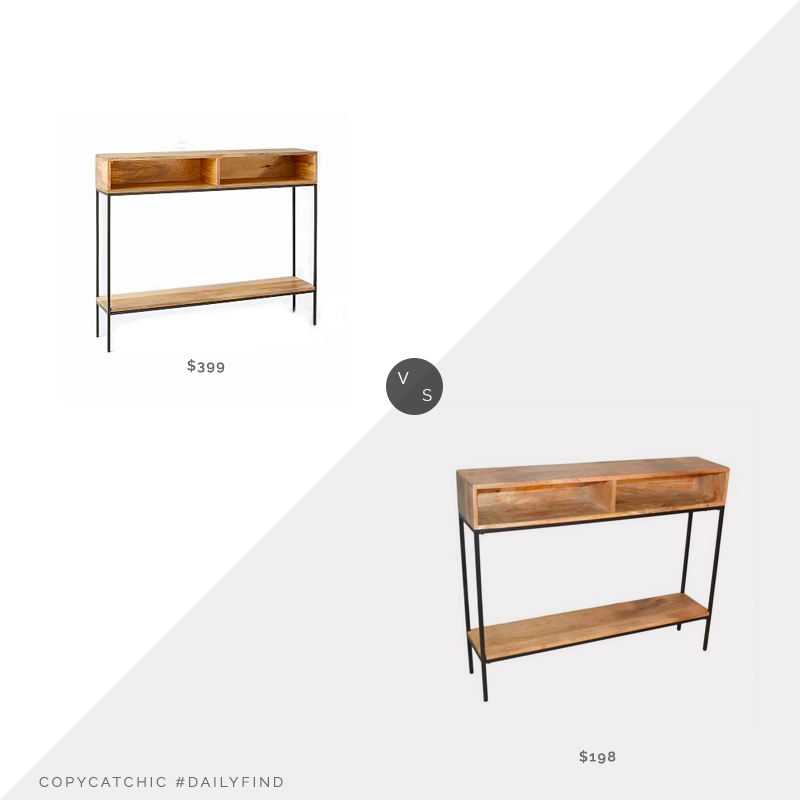 West Elm Industrial Storage Skinny Console $399 vs. Home Depot Edvin Natural/Black Console $198, wood console table look for less, copycatchic luxe living for less, budget home decor and design, daily finds, home trends, sales, budget travel and room redos