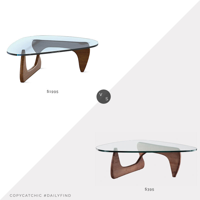 DWR Noguchi Table $1995 vs. Modern in DesignsTribeca Coffee Table Walnut$395, noguchi coffee table look for less, copycatchic luxe living for less, budget home decor and design, daily finds, home trends, sales, budget travel and room redos