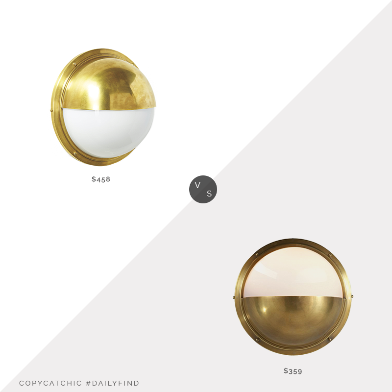 Serena & Lily Portside Sconce $458 vs. One Kings Lane Pelham Moon Sconce $359, porthole sconce look for less, copycatchic luxe living for less, budget home decor and design, daily finds, home trends, sales, budget travel and room redos