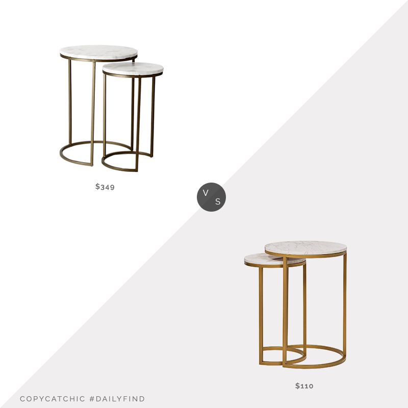 West Elm Marble Round Nesting Side Tables $349 vs. Amazon Rivet Circular Nesting Side Tables  $110, gold nesting side tables look for less, copycatchic luxe living for less, budget home decor and design, daily finds, home trends, sales, budget travel and room redos