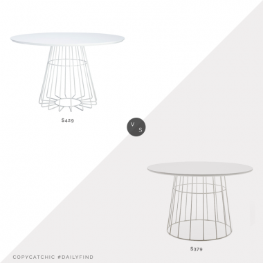Daily Find: CB2 Compass Wire Base Dining Table $429 vs. Walmart MoDRN Scandinavian Kipper Round Dining Table $379, round white dining table look for less, copycatchic luxe living for less, budget home decor and design, daily finds, home trends, sales, budget travel and room redos, round white dining table look for less