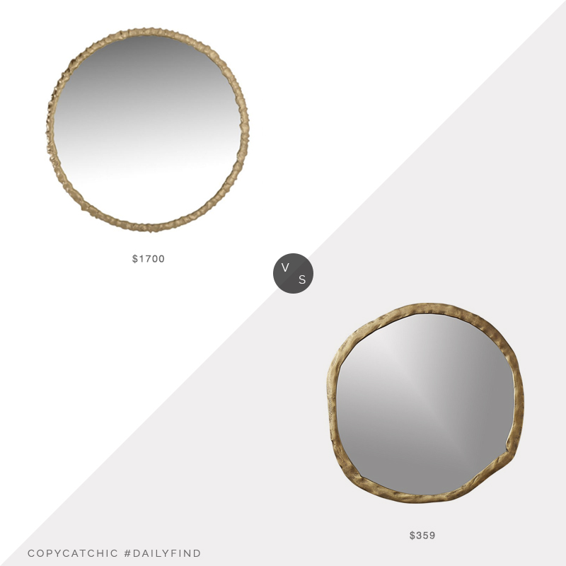 Daily Find: OLY River Round Mirror vs. CB2 Abel Round Mirror, brass mirror look for less, copycatchic luxe living for less, budget home decor and design, daily finds, home trends, sales, budget travel and room redos