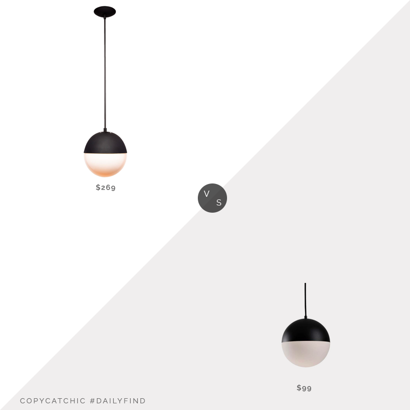 "Daily Find: Rejuvenation Cedar & Moss Globe 10"" Pendant vs. Amazon Kuzco Lighting Pendant in Black Half Sphere, White Opal $99, black globe pendant light look for less, copycatchic luxe living for less, budget home decor and design, daily finds, home trends, sales, budget travel and room redos"